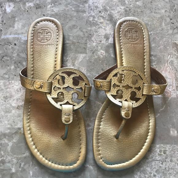 f3c93860152e1 Gold Tory Burch Miller Sandals 8.5. M 5b79cc99cdc7f797c47016a5